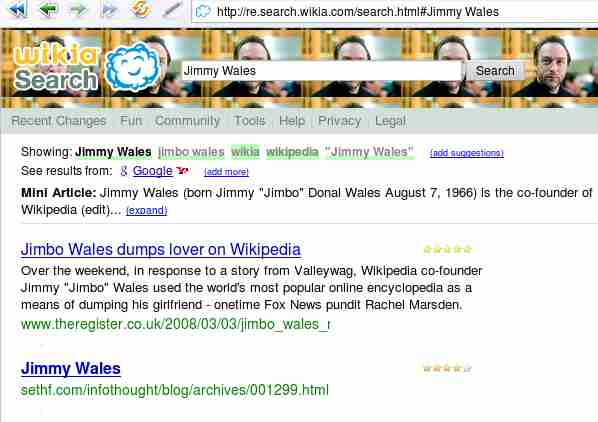 (my blog post is the second result for a Wikia Search on Jimmy Wales)